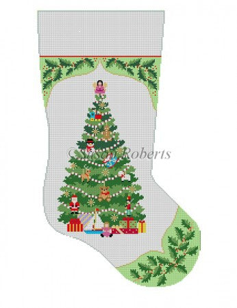 Holly Toy Tree Stocking Canvas