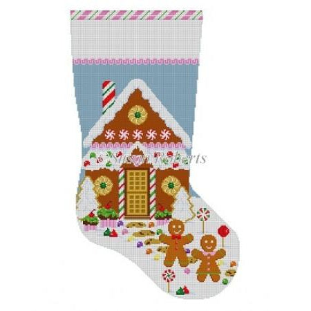Gingerbread House Stocking Canvas - needlepoint