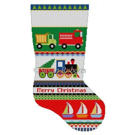 Bold Stripe Trucks Stocking Canvas-Needlepoint Canvas-Susan Roberts-KC Needlepoint