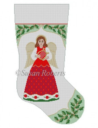 Holly with Angel Stocking Canvas-Needlepoint Canvas-Susan Roberts-KC Needlepoint