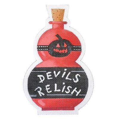 Devil's Relish Halloween Bottle Canvas