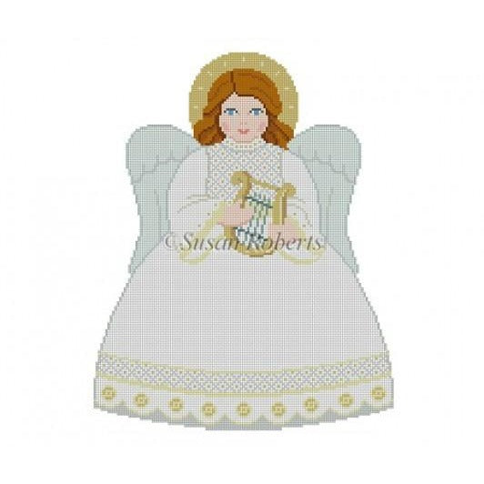 White Angel Tree Topper Canvas-Needlepoint Canvas-Susan Roberts-Front-KC Needlepoint