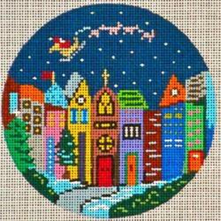"Holiday Windows 4"" Round Canvas-Needlepoint Canvas-Patti Mann-KC Needlepoint"