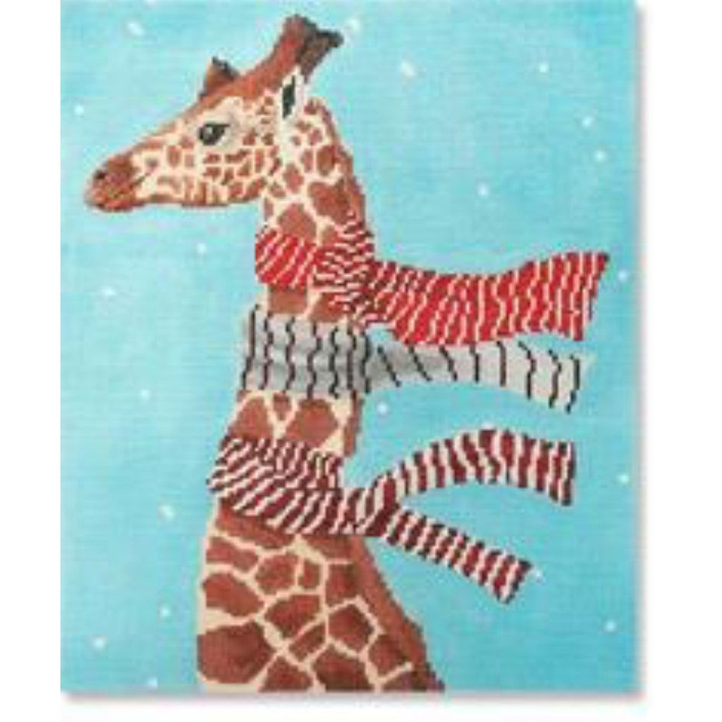 Giraffe w/ Scarves Pillow Canvas - needlepoint