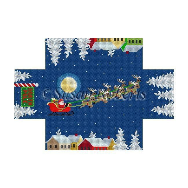 Santa Over the Rooftop Brick Cover-Needlepoint Canvas-Susan Roberts-13 mesh-KC Needlepoint