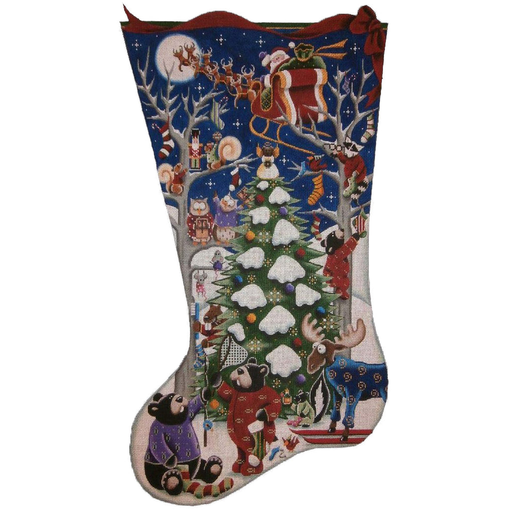 Merry Christmas to All! Stocking Canvas-Needlepoint Canvas-Rebecca Wood Designs-KC Needlepoint