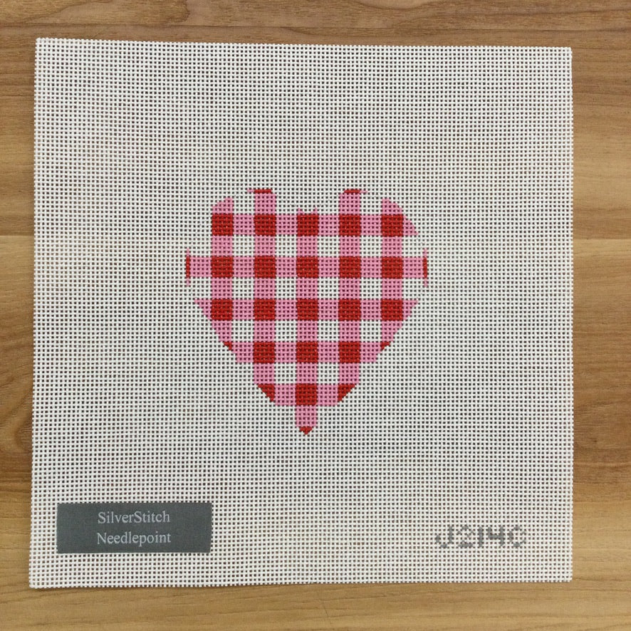 Red Gingham Heart Canvas - needlepoint