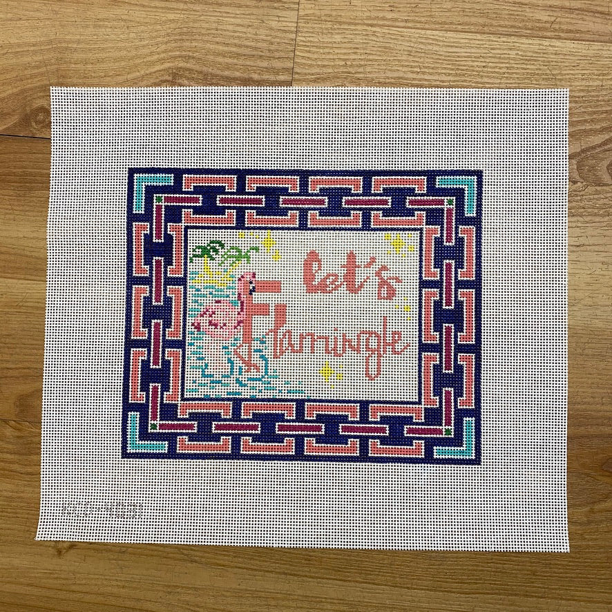 Let's Flamingle Canvas - needlepoint