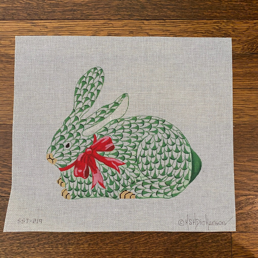 Herend Green Bunny with Red Bow Canvas - needlepoint