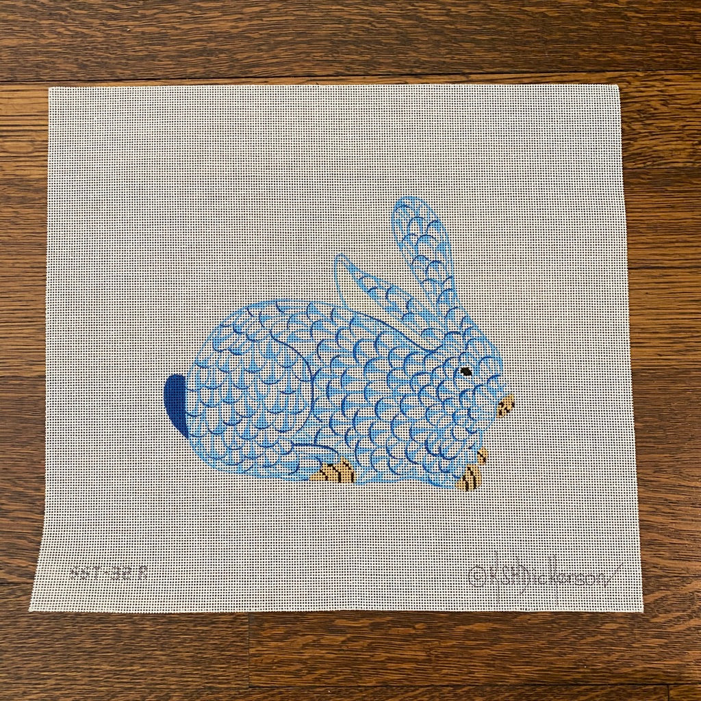 Herend Blue Bunny Needlepoint Canvas
