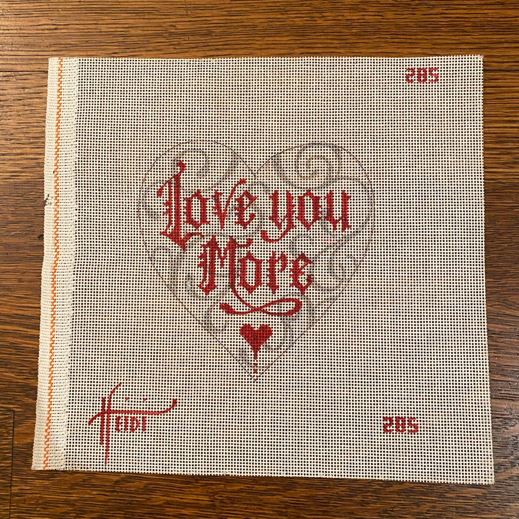 Love You More Heart Canvas - needlepoint