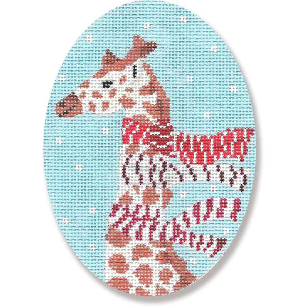 Giraffe w/ Scarves Ornament Canvas - needlepoint