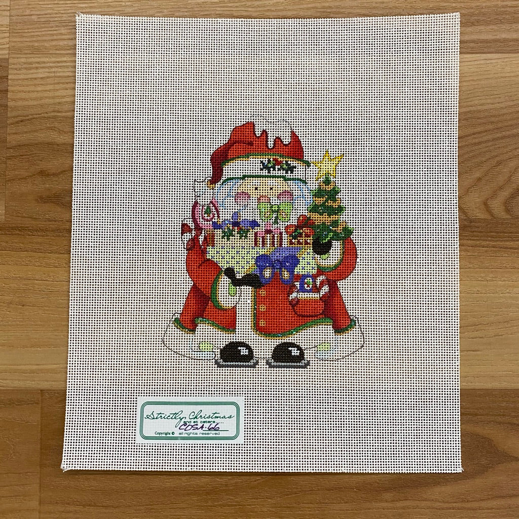Squatty Santa with Presents Canvas - needlepoint