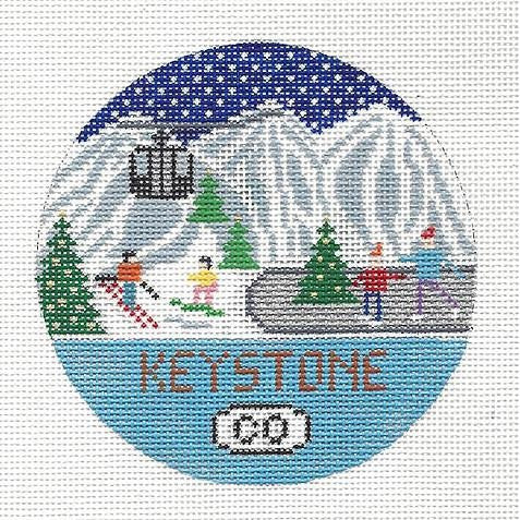 Keystone Round Needlepoint Canvas - needlepoint