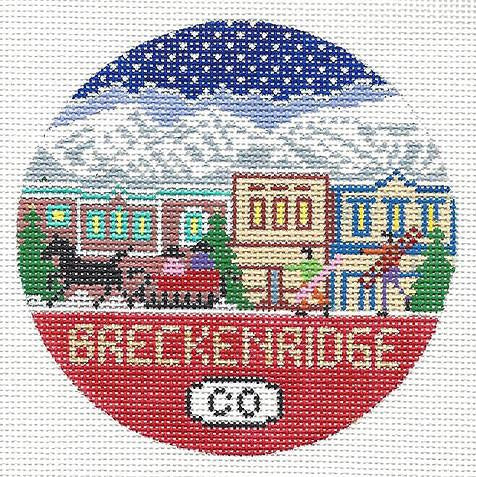 Breckenridge Travel Round Needlepoint Canvas - needlepoint