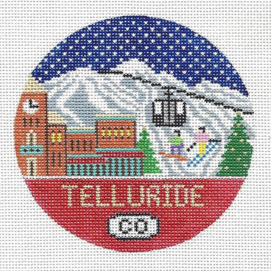 Telluride Travel Round Needlepoint Canvas-Needlepoint Canvas-Doolittle Stitchery-KC Needlepoint