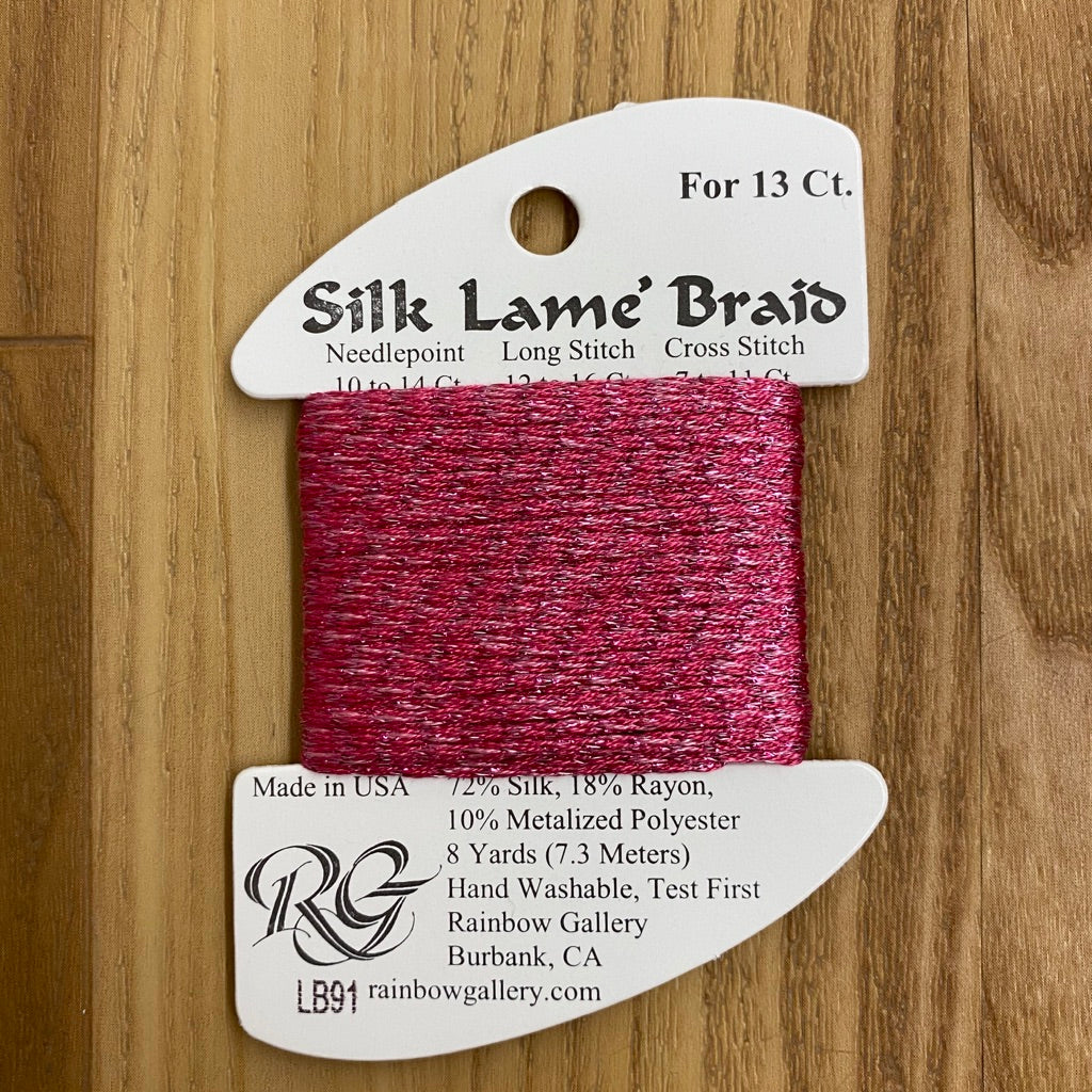 Silk Lamé Braid LB91 Dark Raspberry-Silk Lamé Braid-KC Needlepoint