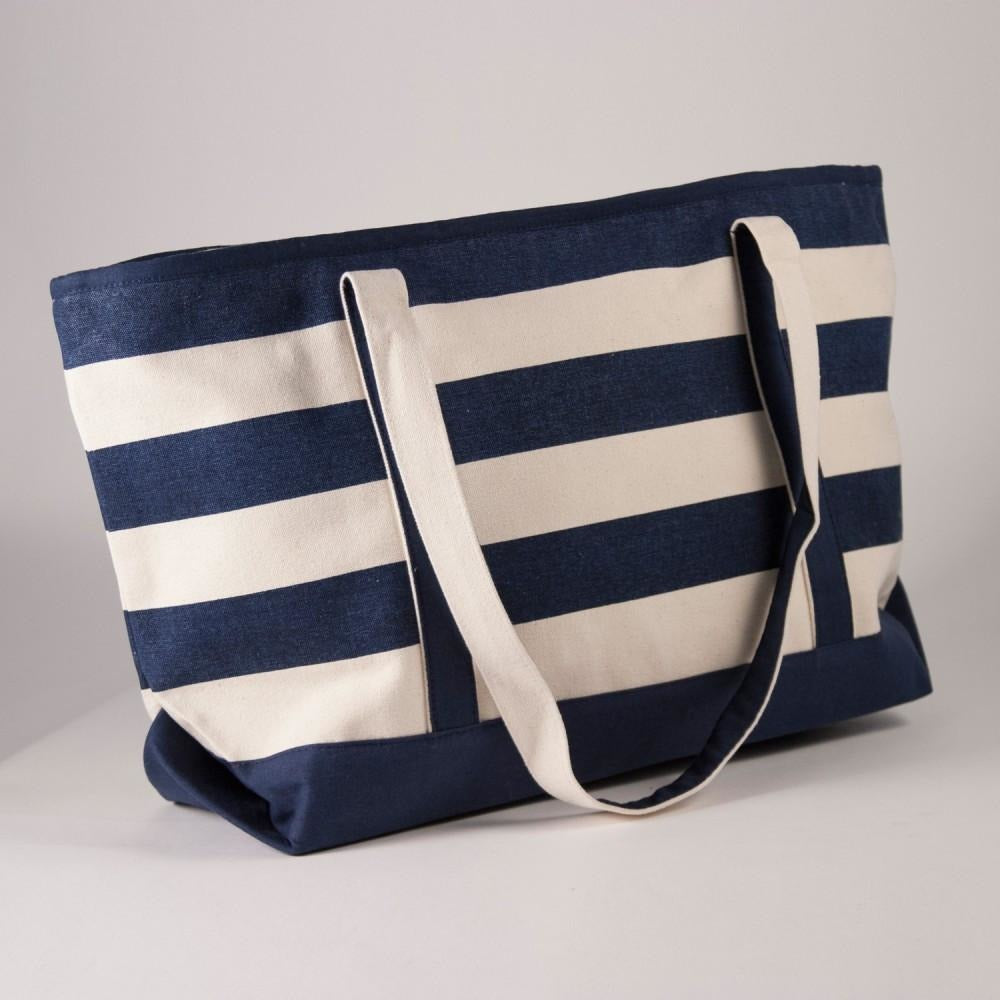 Stripe Canvas Beach Tote Bag-Accessories-The Royal Standard-Natural/Navy-KC Needlepoint
