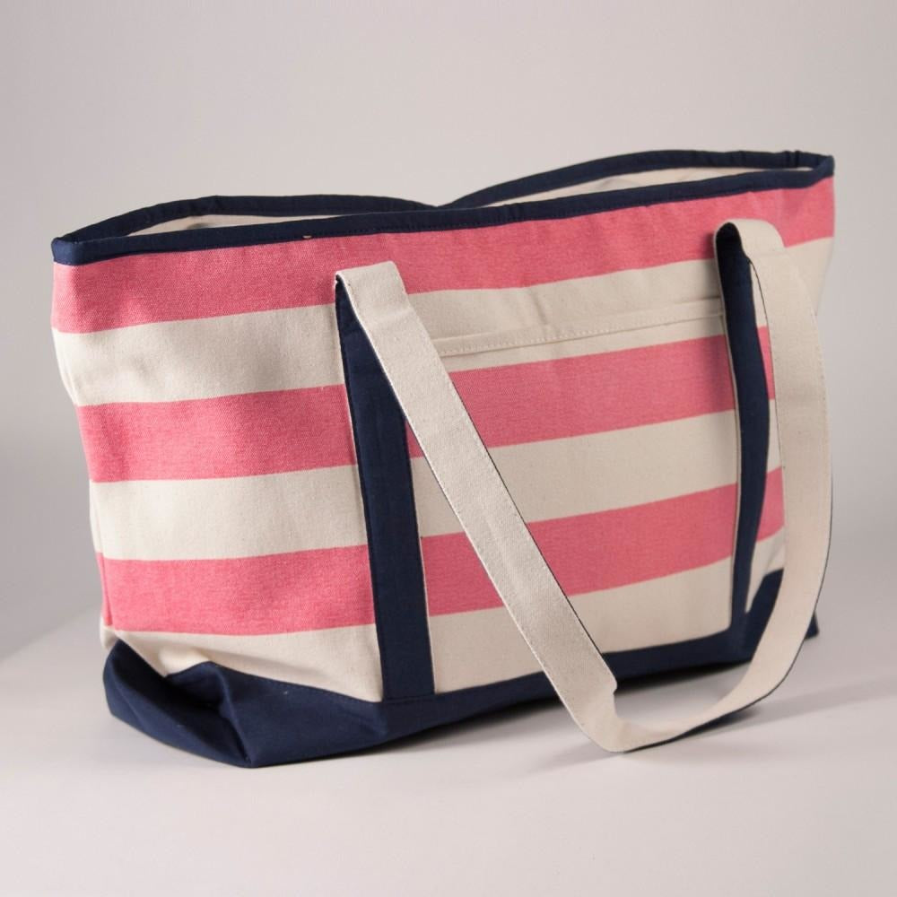 Stripe Canvas Beach Tote Bag-Accessories-The Royal Standard-Natural Pink-KC Needlepoint