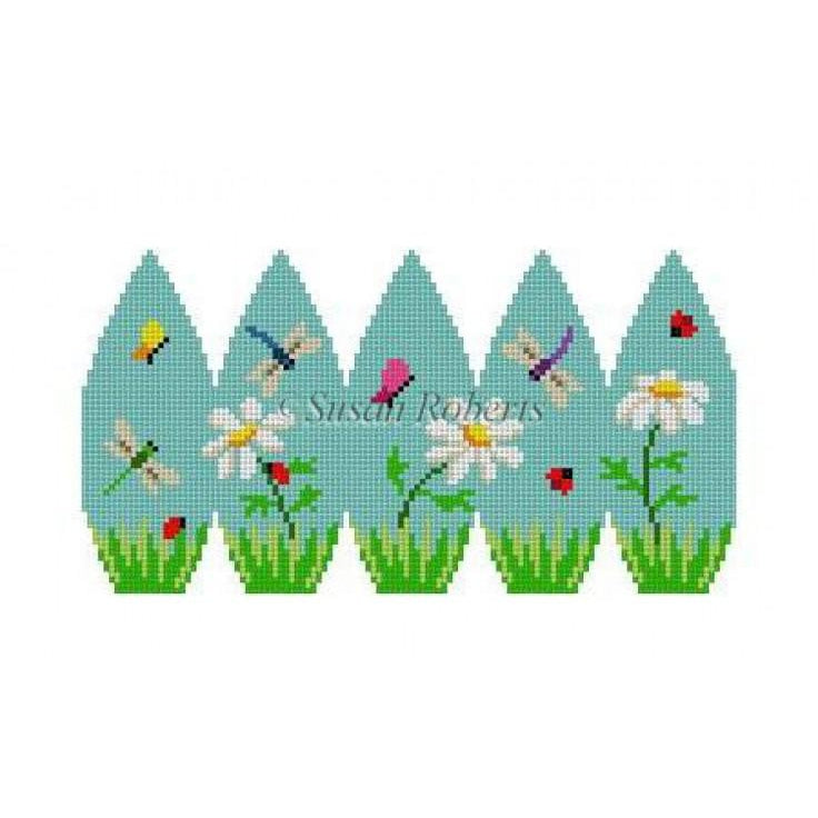 Daisies & Bugs Egg Canvas - needlepoint