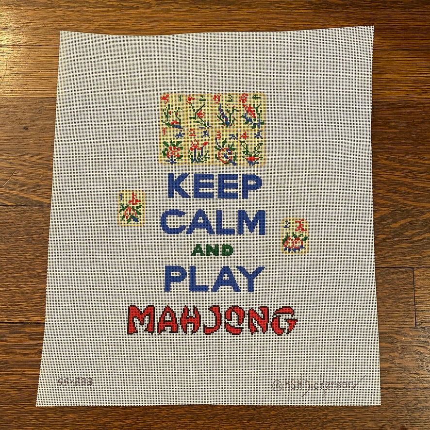 Keep Calm and Play Mahjong Canvas-Needlepoint Canvas-KC Needlepoint