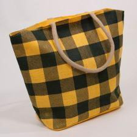 Buffalo Check Jute Tote Bag-Accessories-The Royal Standard-Black/Gold-KC Needlepoint