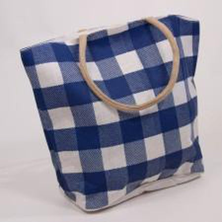 Buffalo Check Jute Tote Bag-Accessories-The Royal Standard-Blue/White-KC Needlepoint