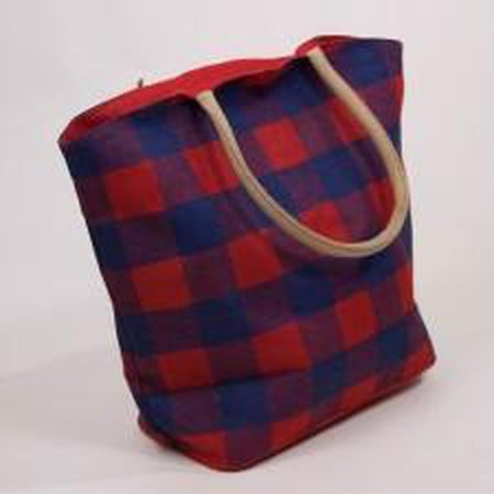 Buffalo Check Jute Tote Bag-Accessories-The Royal Standard-Red/Blue-KC Needlepoint