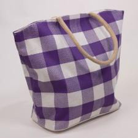 Buffalo Check Jute Tote Bag-Accessories-The Royal Standard-Purple/White-KC Needlepoint
