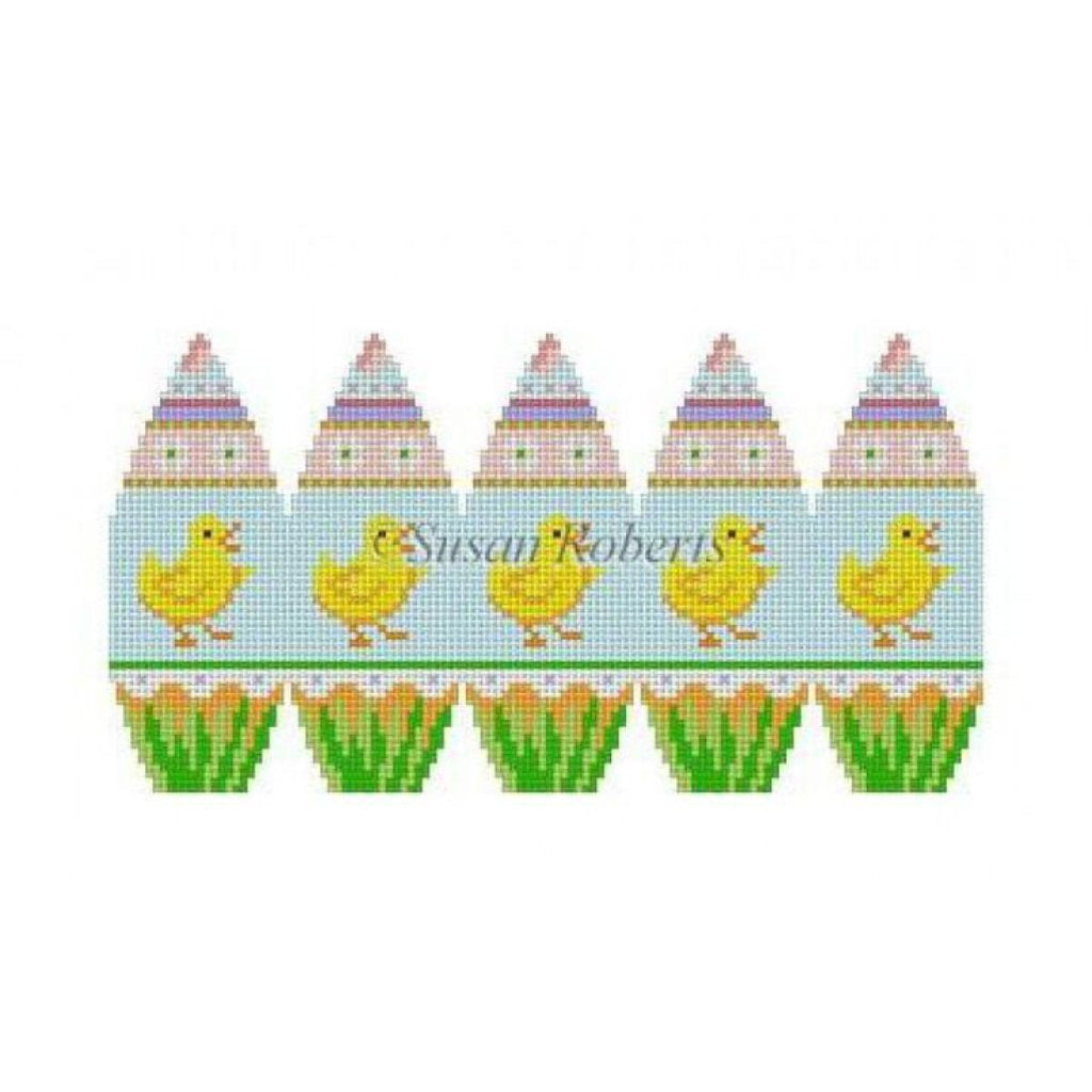 Banded Chicks Egg Canvas-Needlepoint Canvas-Susan Roberts-KC Needlepoint