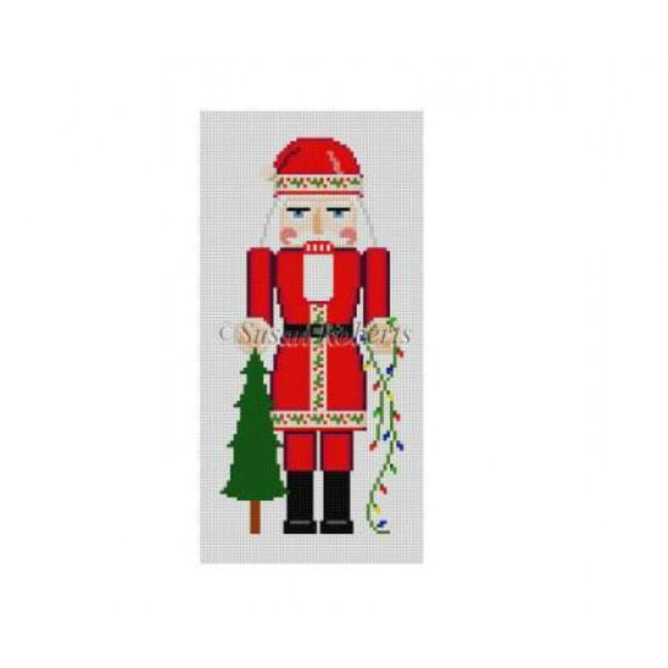 Santa with Tree Nutcracker Canvas - needlepoint