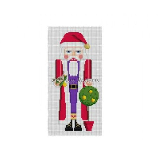 Pear Tree Santa Nutcracker Canvas - needlepoint
