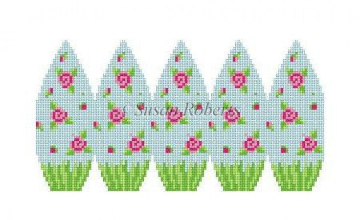 Rose Sprinkles 3D Egg Canvas-Needlepoint Canvas-Susan Roberts-KC Needlepoint