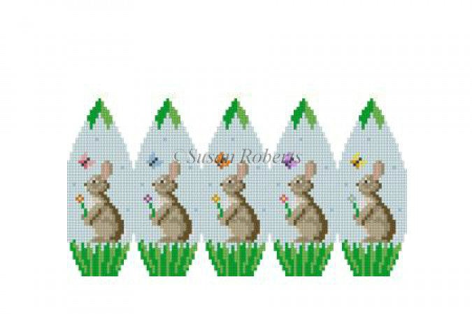 Bunnies and Buttlerflies 3D Egg Canvas-Needlepoint Canvas-Susan Roberts-KC Needlepoint