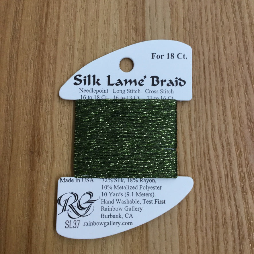 Silk Lamé Braid SL37 Dark Avocado - needlepoint