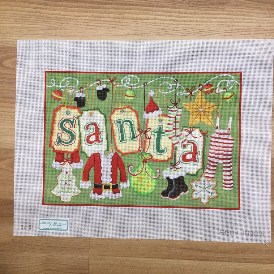 Santa and Clothes Canvas - needlepoint