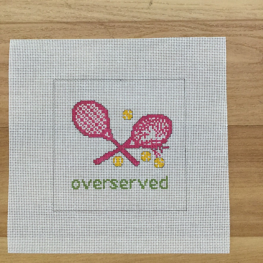 Overserved Pink Square Canvas - needlepoint