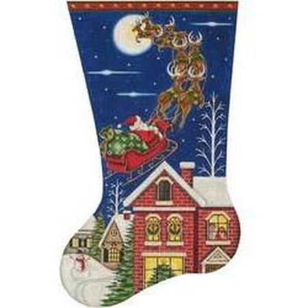 Through The Sky Christmas Stocking-Needlepoint Canvas-Rebecca Wood Designs-13 mesh-KC Needlepoint