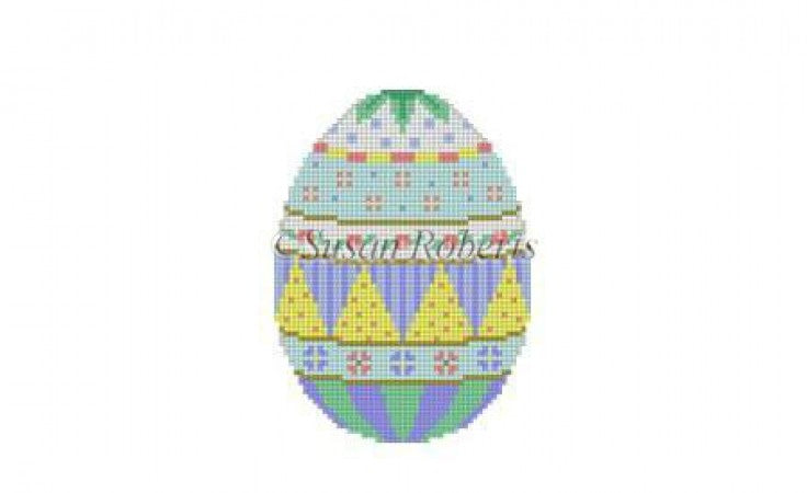 Spotted Bands Egg Canvas-Needlepoint Canvas-Susan Roberts-KC Needlepoint