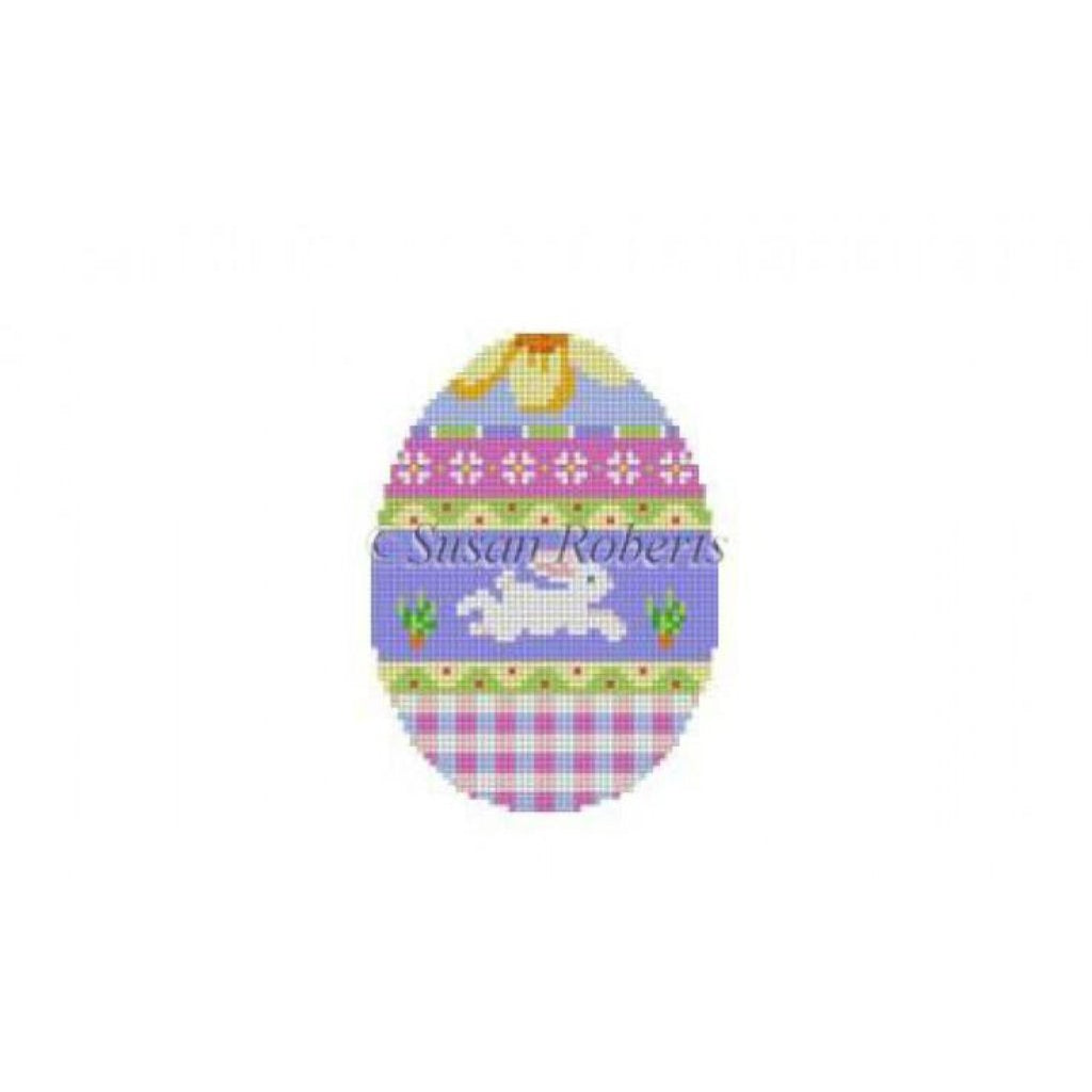 Bunny Over Plaid Egg Canvas-Needlepoint Canvas-Susan Roberts-KC Needlepoint
