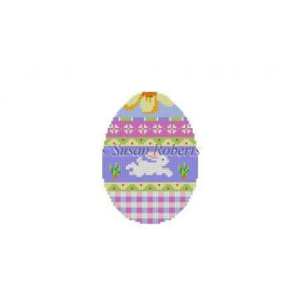 Bunny Over Plaid Egg Canvas