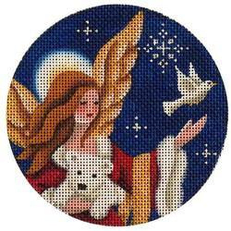 Arctic Angel Christmas Round-Needlepoint Canvas-Rebecca Wood Designs-KC Needlepoint