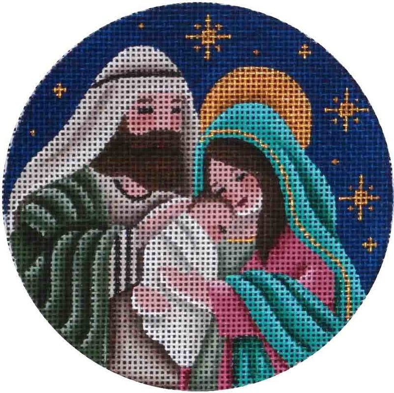 Nativity Round Canvas - needlepoint