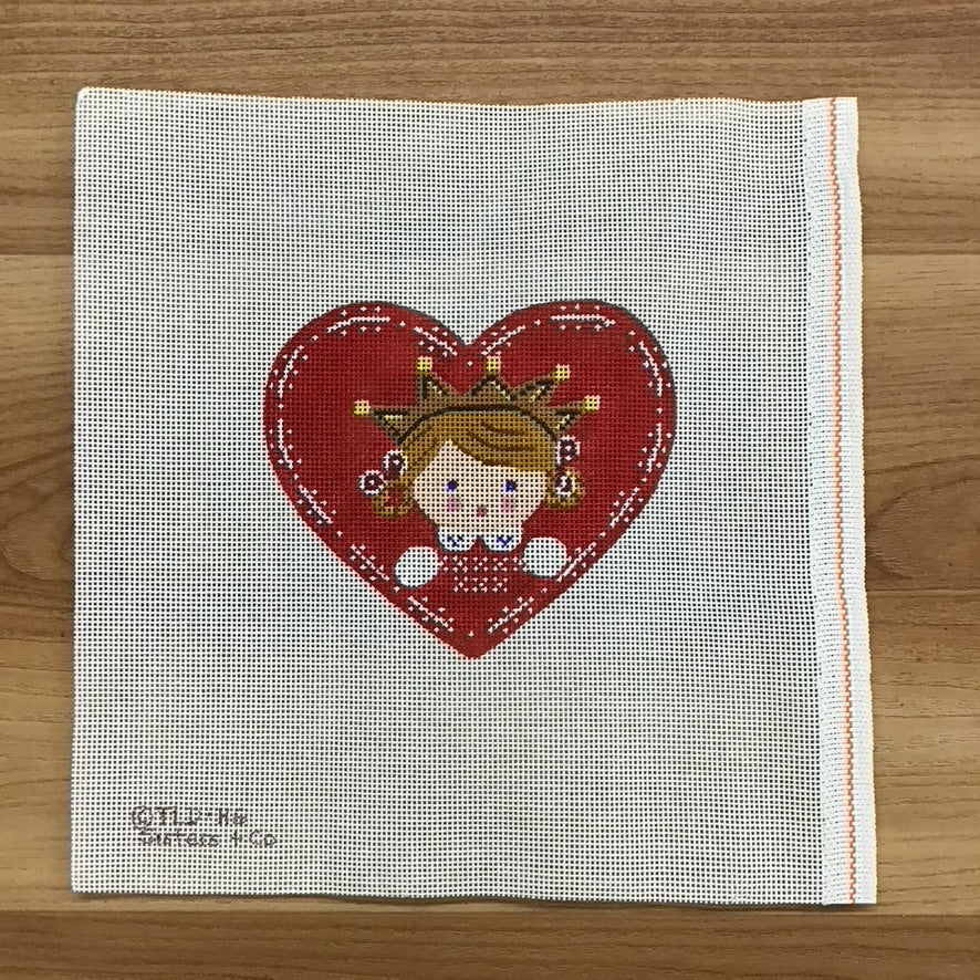 Heart Girl with Crown Canvas - KC Needlepoint
