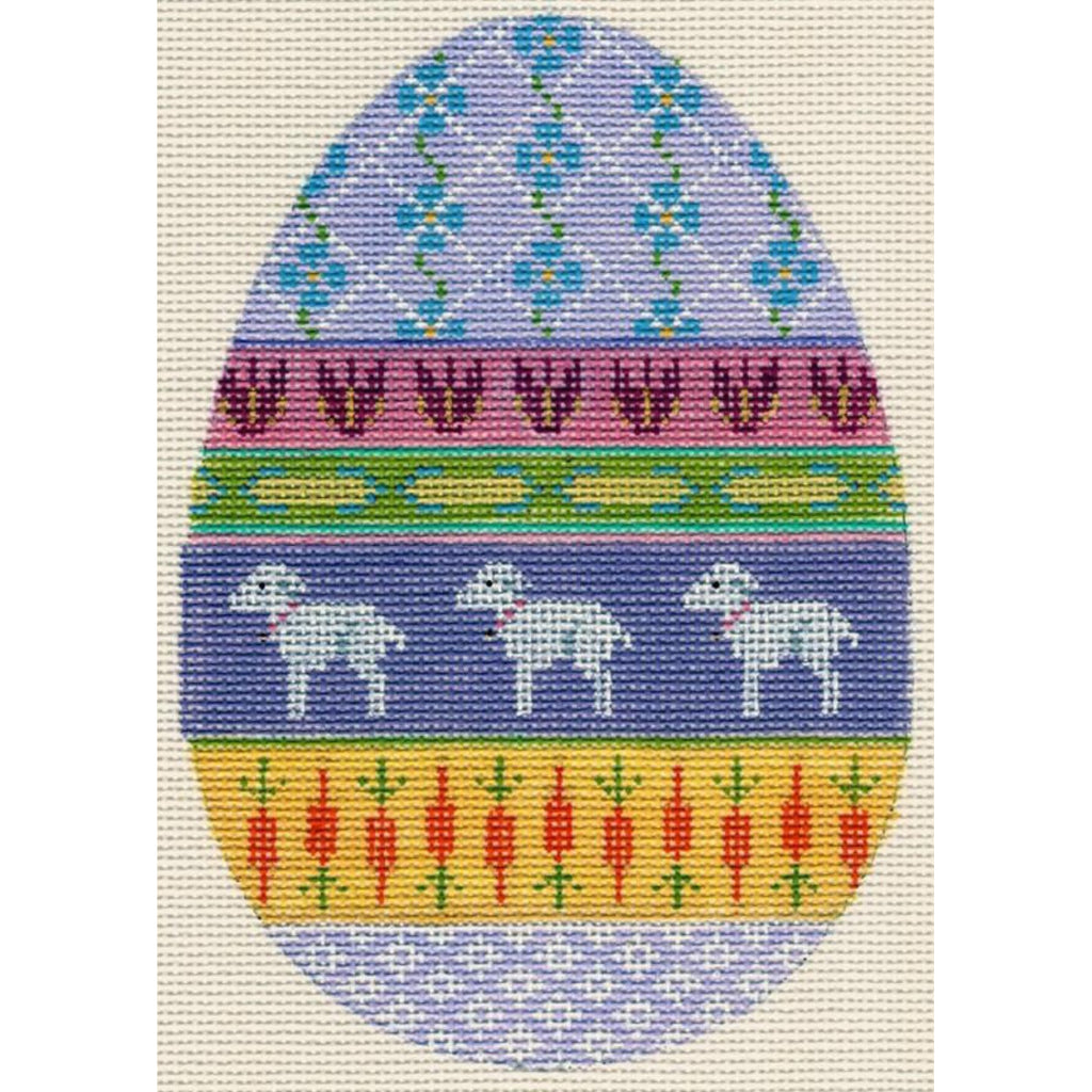 Easter Egg with Lambs Canvas-Labors of Love-KC Needlepoint