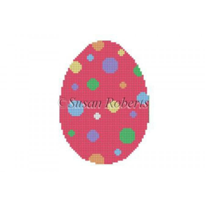 Polka Dots Egg Canvas-Needlepoint Canvas-Susan Roberts-KC Needlepoint