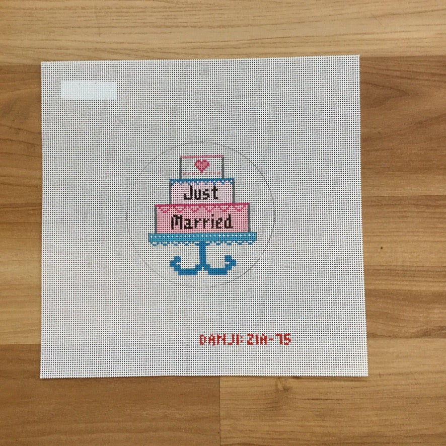 Just Married Cake Canvas - needlepoint