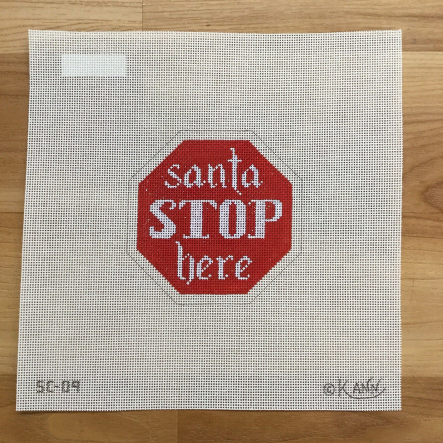 Santa Stop Here Canvas - KC Needlepoint
