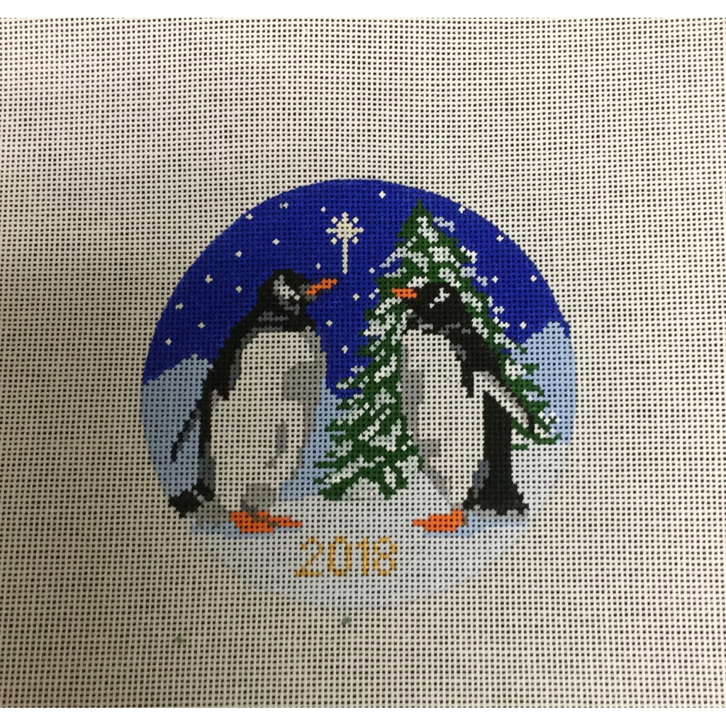 2018 KCN Penguin Ornament-Needlepoint Canvas-KCN Designers-Canvas Only-KC Needlepoint
