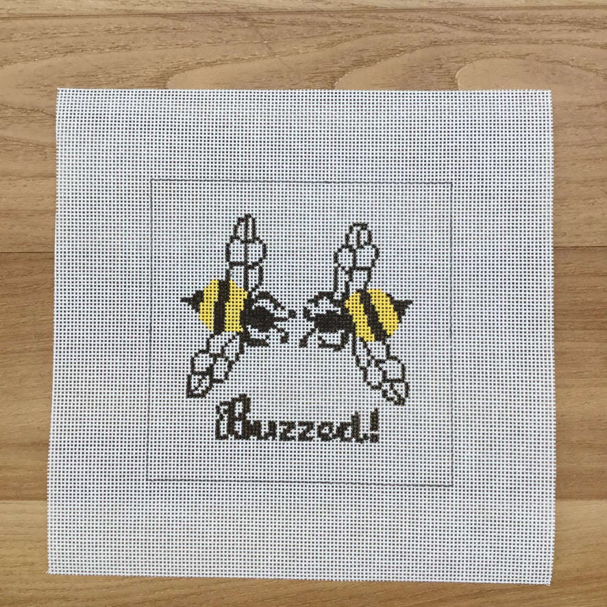 Buzzed Square Canvas - needlepoint